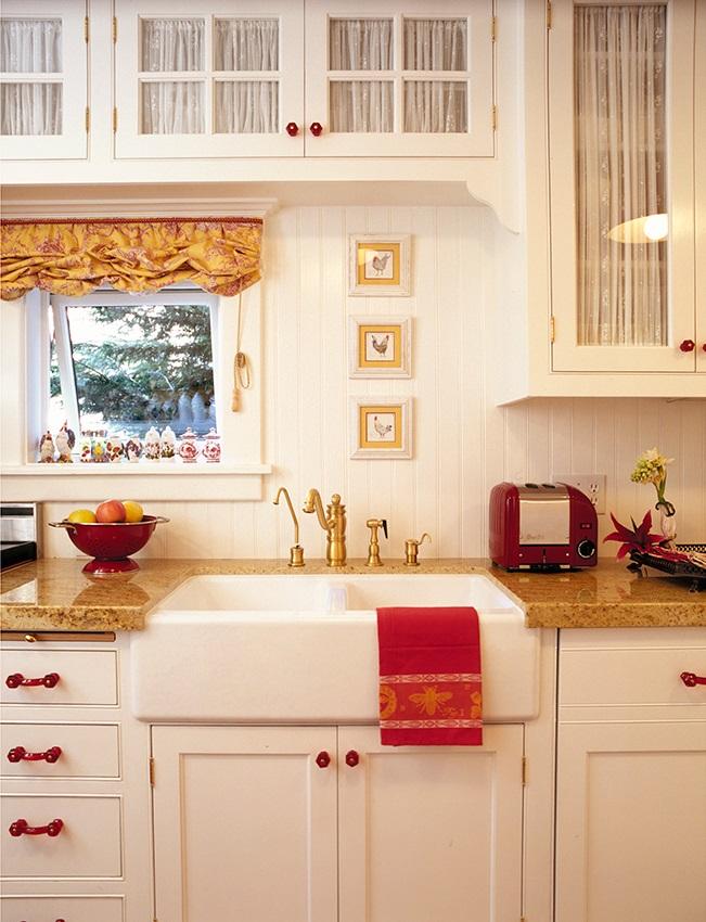 Soft Roman Shade and Gathered Cabinet Inserts -- Melinda Gray Interiors
