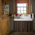 Flat Roman Shade and Gathered Sink Skirt -- Melinda Gray Interiors