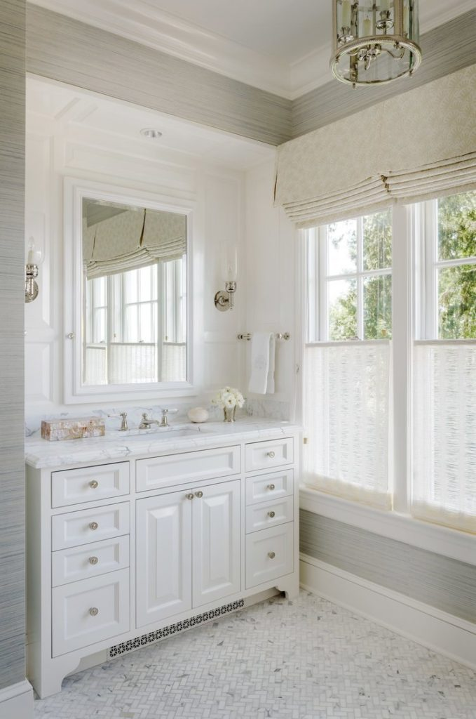 Master Bathroom Grey and White